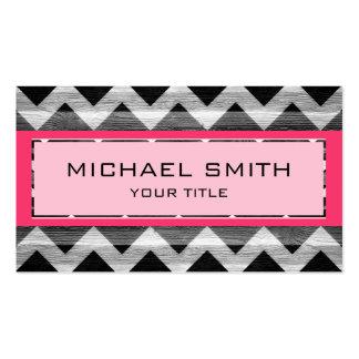 Hot Pink Modern Chevron Pattern Business Cards
