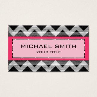 Hot Pink Modern Chevron Pattern Business Card
