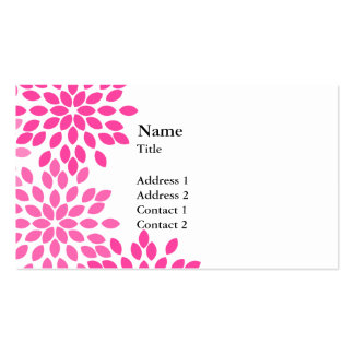 Hot Pink Modern Floral Pattern Double-Sided Standard Business Cards (Pack Of 100)