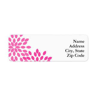 Hot Pink Modern Floral Pattern Label