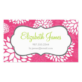 Hot Pink Modern Flowers Double-Sided Standard Business Cards (Pack Of 100)
