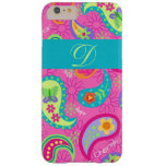 Hot Pink Modern Paisley Monogram Barely There iPhone 6 Plus Case