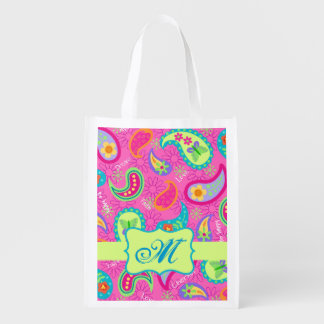 Hot Pink Modern Paisley Monogram Grocery Bag