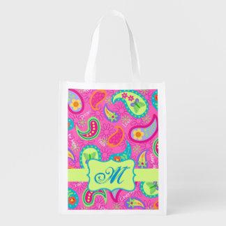 Hot Pink Modern Paisley Monogram Grocery Bag