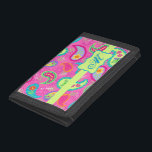 """Hot Pink Modern Paisley Monogram Initial Tri-fold Wallet<br><div class=""""desc"""">Carry your money in style with this hot pink billfold wallet personalized with your monogram, initials or name. The bold colors of this trendy paisley design features hot pink fuchsia background with a lime green strip and emblem for personalization. Bright, fresh, modern paisleys make a beautiful artistic design that includes...</div>"""