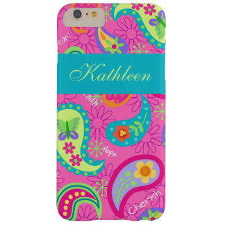 Hot Pink Modern Paisley Name Personalized Barely There iPhone 6 Plus Case
