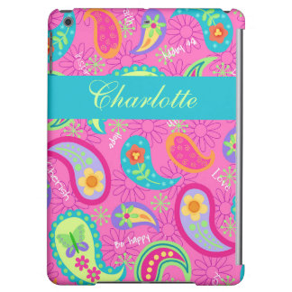 Hot Pink Modern Paisley Name Personalized iPad Air Cases