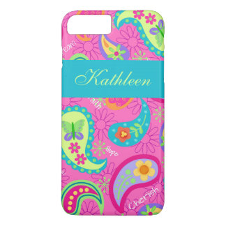 Hot Pink Modern Paisley Name Personalized iPhone 7 Plus Case
