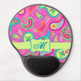 Hot Pink  Modern Paisley Pattern Monogram Table Gel Mouse Mat