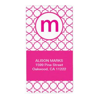 Hot Pink Modern Quatrefoil Monogram ANY WORDING Label