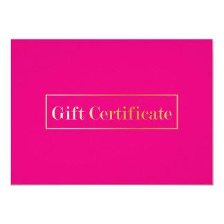 Hot Pink Modern Spa Beauty Salon Gift Certificate Card