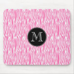 Hot pink modern zebra mousepad