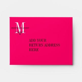 Hot Pink Monogram Chandelier RSVP Card Envelopes