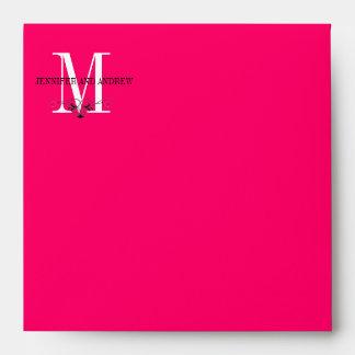 Hot Pink Monogram Chandelier Square Envelopes