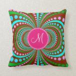 Hot Pink Monogram Cool Funky Pattern Pillows