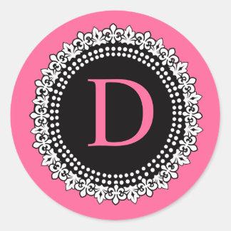 Hot Pink Monogram D Fleur de Lis Wedding Sticker