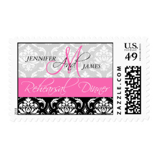 Hot Pink Monogram Damask Rehearsal Dinner Postage