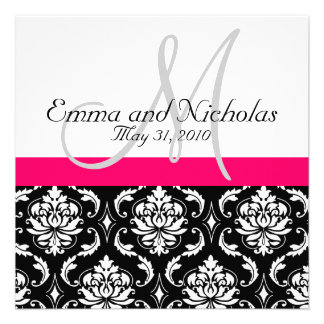 Hot Pink Monogram Damask Wedding Invitation