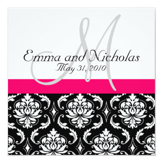 Hot PInk Monogram Damask Wedding Invitation