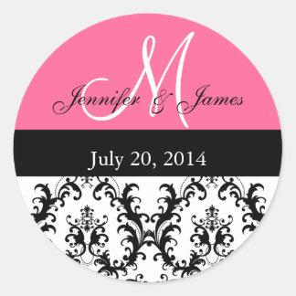 Hot Pink Monogram Damask Wedding Stickers