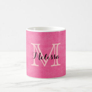 Hot Pink Monogram Initial Rustic Mug