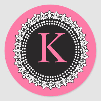 Hot Pink Monogram K Fleur de Lis Wedding Sticker