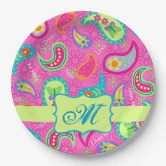 Hot Pink Monogram Personalized Modern Paisley Paper Plate