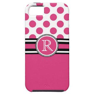Hot Pink Monogram Polka Dots iPhone 5 Case