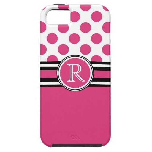 Hot Pink Monogram Polka Dots iPhone 5 Case