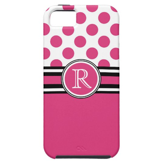 Hot Pink Monogram Polka Dots iPhone SE/5/5s Case