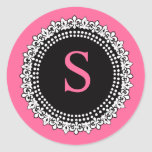 Hot Pink Monogram S Fleur de Lis Wedding Sticker