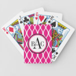 Hot Pink Monogrammed Barcelona Print Bicycle Playing Cards