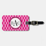 Hot Pink Monogrammed Barcelona Print Tags For Bags