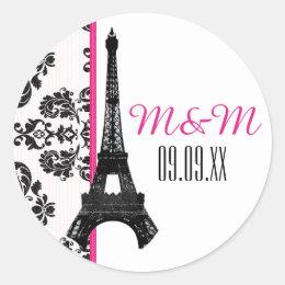 Hot Pink Monogrammed Damask Eiffel Tower Wedding Classic Round Sticker
