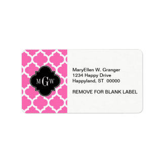 Hot Pink Moroccan #5 Black 3 Init Vine Monogram Address Label