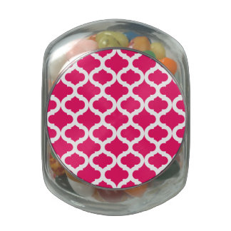Hot Pink Moroccan Pattern Glass Candy Jars