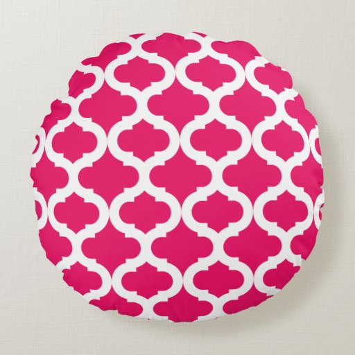 Hot Pink Moroccan Pattern Round Pillow Zazzle