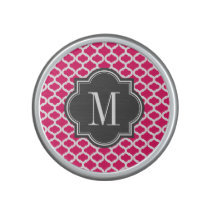 Hot Pink Moroccan Pattern with Charcoal Monogram Bluetooth Speaker