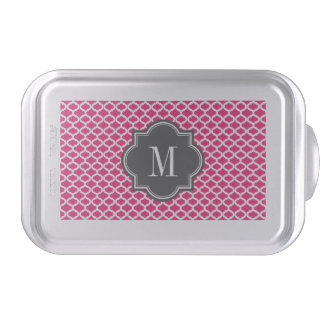 Hot Pink Moroccan Pattern with Charcoal Monogram Cake Pan