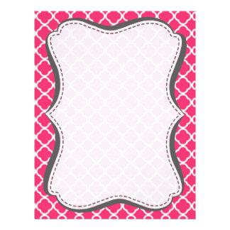 Hot Pink Moroccan Quatrefoil Personalized Letterhead