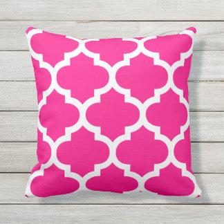 Hot Pink Moroccan Quatrefoil Outdoor Pillows