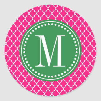 Hot Pink Moroccan Tiles Lattice Personalized Classic Round Sticker