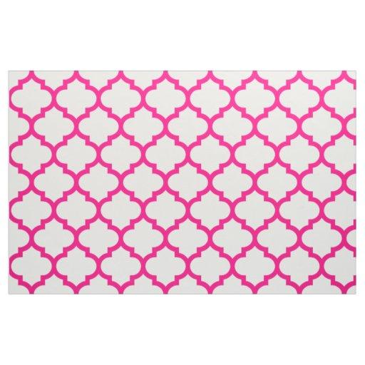 Hot Pink Moroccan Trellis Pattern Fabric Zazzle Com