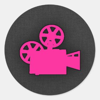 Hot Pink Movie Camera Classic Round Sticker