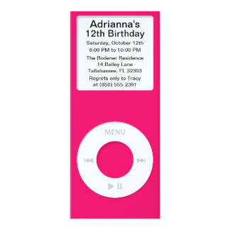 Hot Pink MP3 Player iParty Birthday Party Card