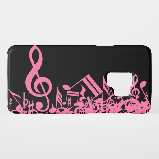 Hot Pink Musical Notes on Black Case-Mate Samsung Galaxy S9 Case
