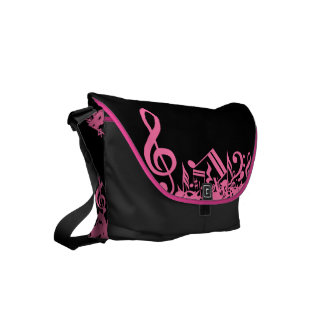 Hot Pink Musical Notes on Black Small Messenger Bag