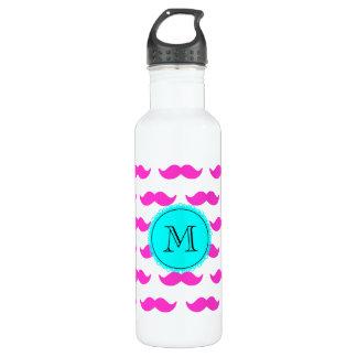 Hot Pink Mustache Pattern, Aqua Black Monogram 24oz Water Bottle