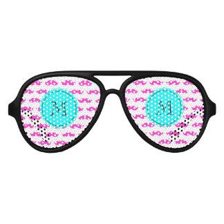 Hot Pink Mustache Pattern, Aqua Black Monogram Aviator Sunglasses