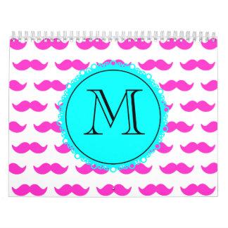 Hot Pink Mustache Pattern, Aqua Black Monogram Wall Calendar